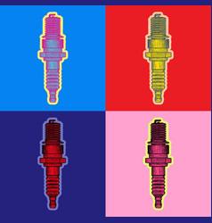Spark plug pop art style andy warhol style vector