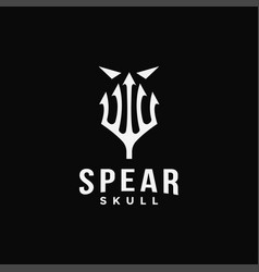 spear and skull logo icon template vector image