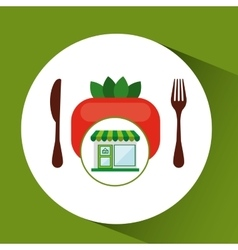 Store fresh vegetables tomato food vector