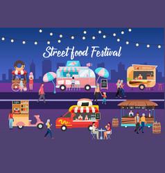 Street food festival poster template city fest vector