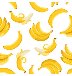 Summer exotic pattern with yellow bananas flowers vector