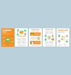 Summer outdoor adventure camp brochure template vector