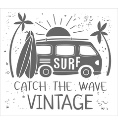 Summer Surf Print with a Mini Van Palm Trees and vector
