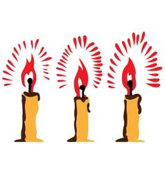Three burning candles vector