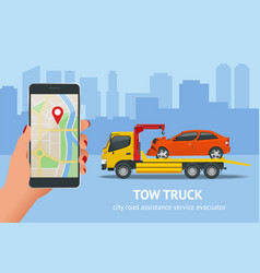 tow truck roadside assistance tow truck vector image