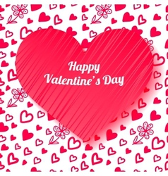 Valentines day card on hand drawn hearts vector image