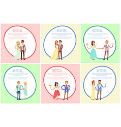 wedding posters set with text vector image