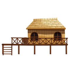 wooden hut with ladder vector image