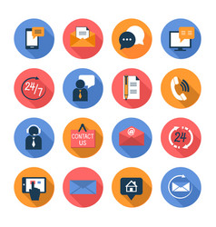 Customer care contacts flat icons set vector image