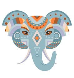 elephant head logo decorative emblem vector image vector image