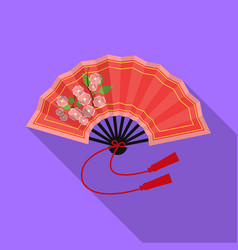 folding fan icon in flat style isolated on white vector image vector image