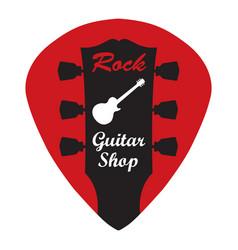 guitar headstock in guitar pick with rock guitar vector image