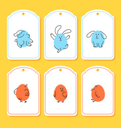 set of funny easter tags with bunny chick vector image vector image