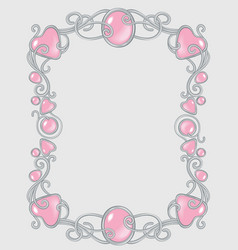 gem frame gentle pink for baby princess template vector image