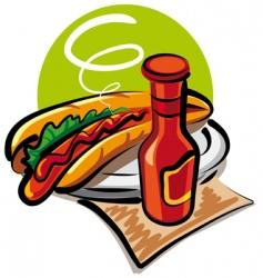 hotdog and ketchup vector image vector image