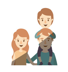 light color shading caricature half body family vector image vector image
