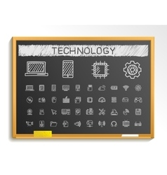 Technology hand drawing line icons chalk sketch vector image vector image