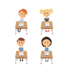 flat children sitting at desk set vector image vector image