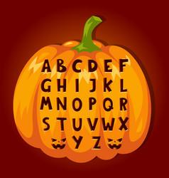 halloween pumpkin font alphabet text symbols vector image