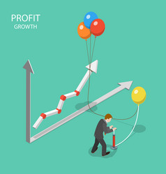 profit growth flat isometric concept vector image