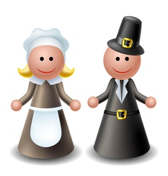 Thanksgiving pilgrim characters vector image vector image