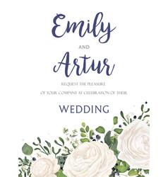 wedding floral tender invite card design vector image vector image