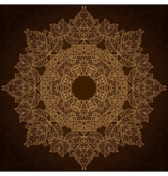 Brown and gold lace circle ornament vector image vector image