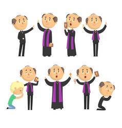 cartoon catholic priest reading prayer blessing vector image