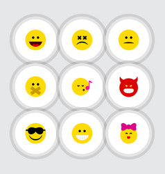 flat icon expression set of pouting happy laugh vector image vector image