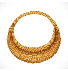 Realistic round wicker basket isolated on white vector