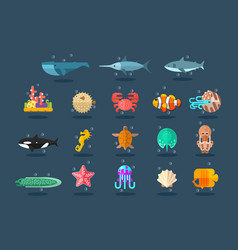 underwater animals set lea life vector image