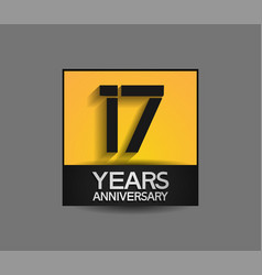 17 years anniversary in square yellow and black vector