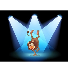 A dancing lion in the middle of the stage vector