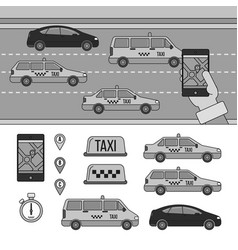 app for booking taxi line monochrome vector image