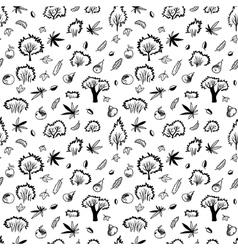Autumn seamless pattern with trees and plants vector image