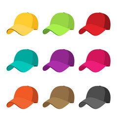 baseball cap icon set flat isolate on a white vector image