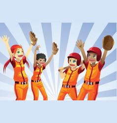 Baseball kids players vector
