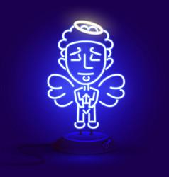 beautiful neon angel glows in the dark vector image