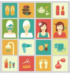 Beauty and care of female body spa haircut vector