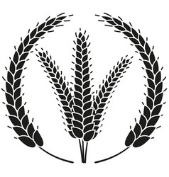 Black and white ripe wheat ear wreath silhouette vector