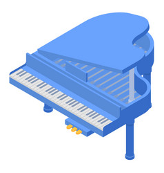 blue grand piano icon isometric style vector image