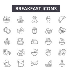 breakfast line icons for web and mobile design vector image