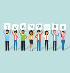 businessman and businesswoman teamwork vector image