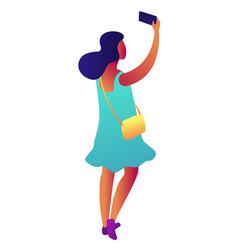 businesswoman taking selfie isometric 3d vector image
