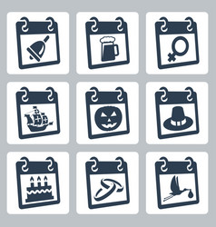 Calendar icons representing holidays the vector