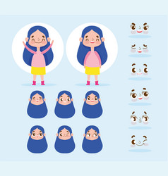 Cartoon character animation little girl long hair vector