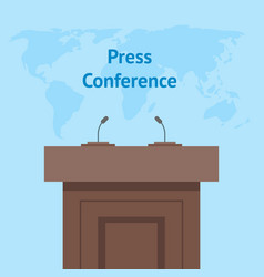 cartoon press conference card poster broadcast vector image