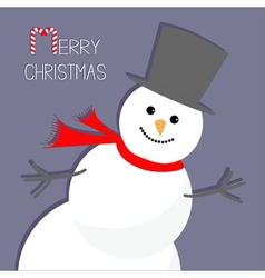 Cartoon Snowman in the corner Violet background vector