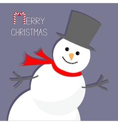Cartoon snowman in the corner violet background vector