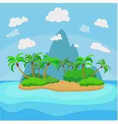 cartoon tropical island landscape background scene vector image
